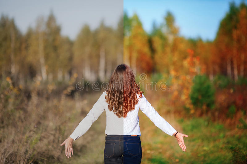 Photo before and after the image editing process. Young woman. Photo before and after the image editing process. Young beautiful woman with long hair, back view stock photos