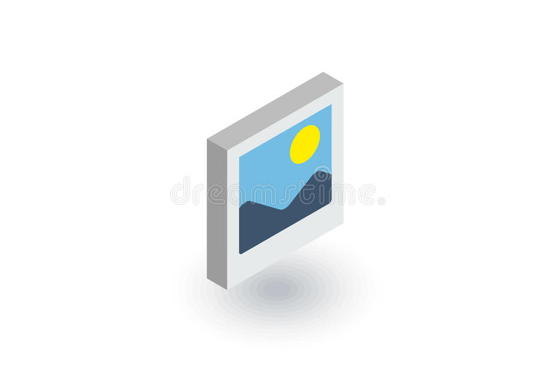 Photo image, photography file, picture gallery isometric flat icon. 3d vector. Colorful illustration. Pictogram on white background stock illustration