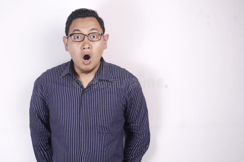 Asian Man Shocked with Mouth Open stock image