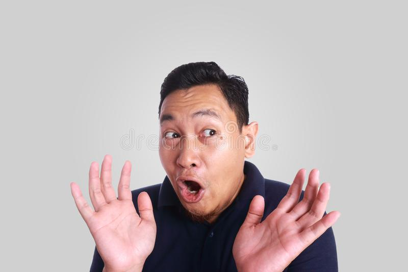Asian Man Shocked with Mouth Open stock photo