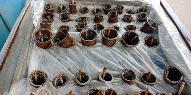 Photo indienne d'actions de système de cong3lation de crème glacée de rue image stock