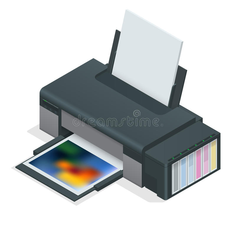 Photo inkjet printer. Color printer prints photo on white isolated background. Four empty refillable cartridges. stock illustration