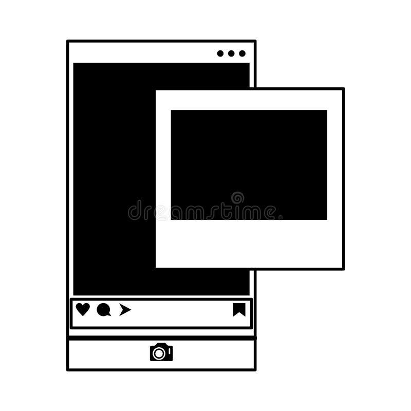 Photo instantanée d'appli social de réseau de smartphone en noir et blanc illustration libre de droits