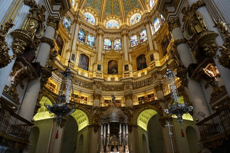 Granada Cathedral Interior in Spain stock images