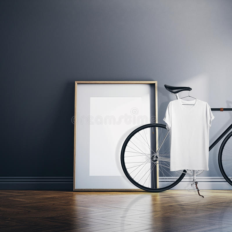 Photo Interior Modern Studio House with Classic bicycle.Empty White Canvas on Natural Wood Floor.Blank Tshirt hanging stock photos