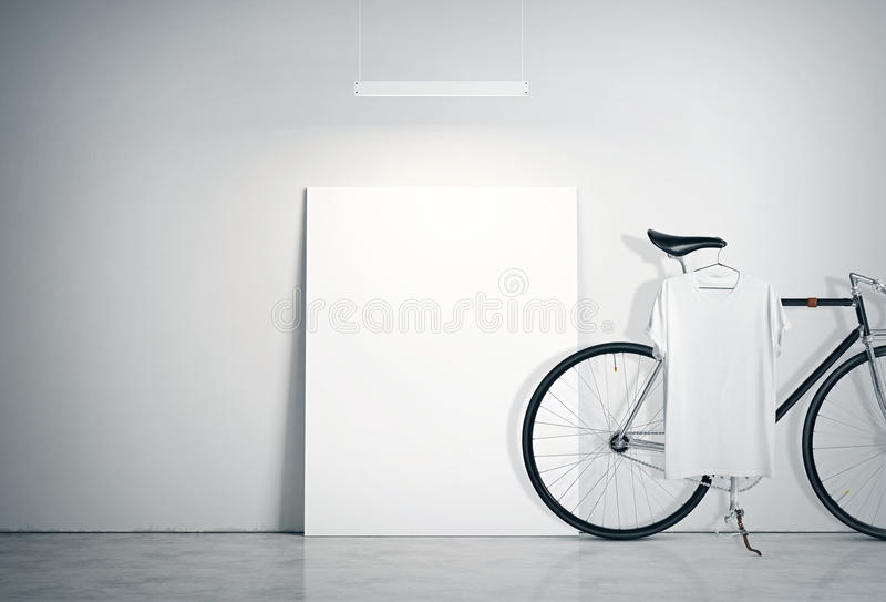 Photo Interior Modern Studio Loft with Concrete Wall and Classic bicycle.Empty White Canvas on Floor, Spotlight top stock illustration