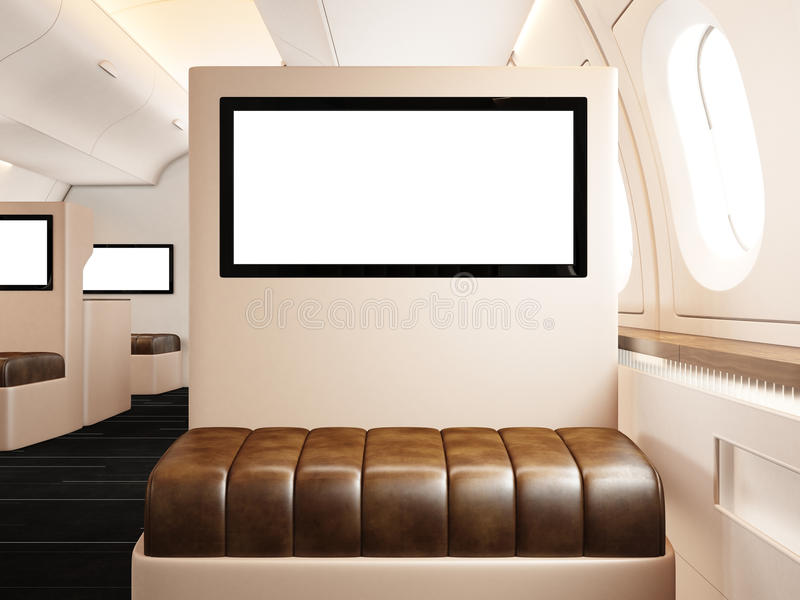 Photo interior of private airplane. Empty leather chair. Blank digital screen ready for your information. Luxury jet stock image