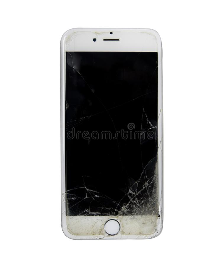 Photo of a iPhone 6 with broken display royalty free stock photography