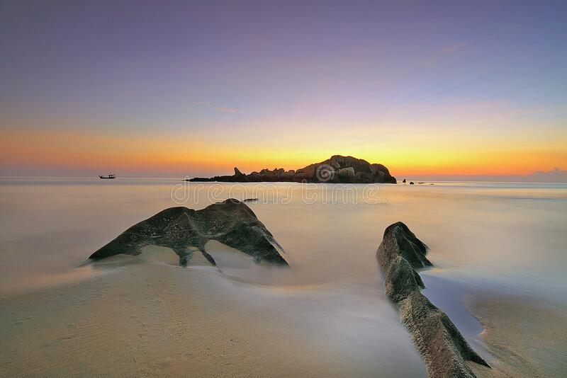 Photo of an Island during Sunset royalty free stock photo