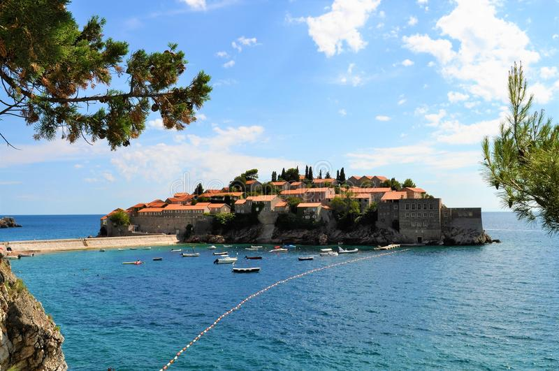 The island of Sveti Stefan. Photo of the island of Sveti Stefan on the Adriatic cost - Montenegro - July 2010 stock images