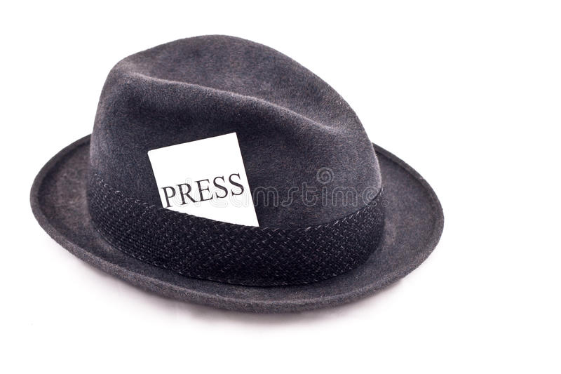 Photo journalist press hat stock photography