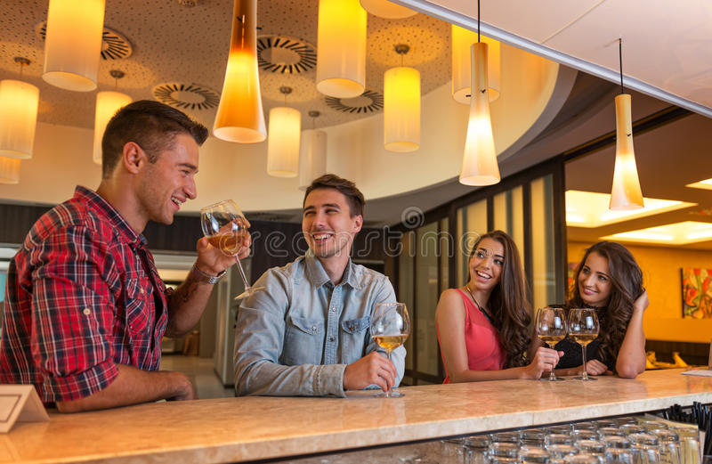 Photo of joyful friends in the bar communicating w royalty free stock photography