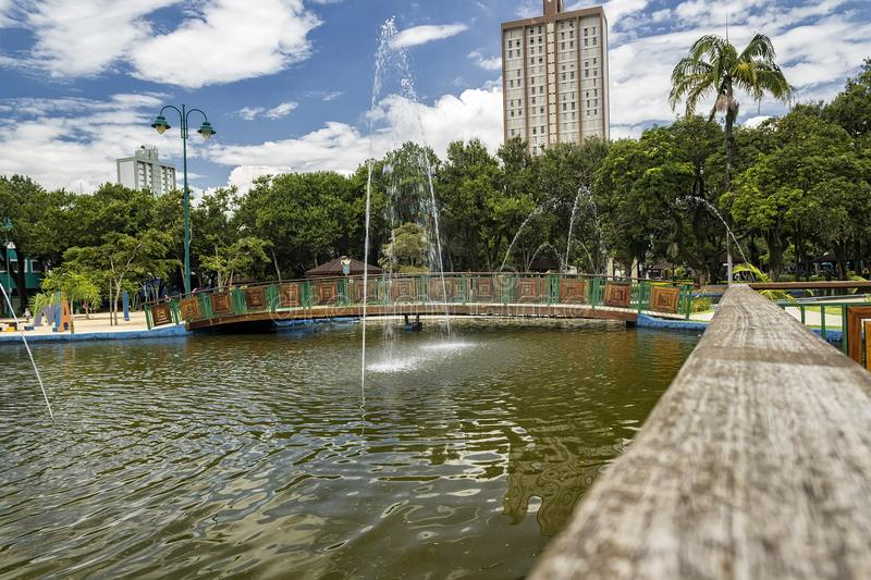 Lake with fountain in Park Santos Dumont, Sao Jose dos Campos, Brazil royalty free stock image