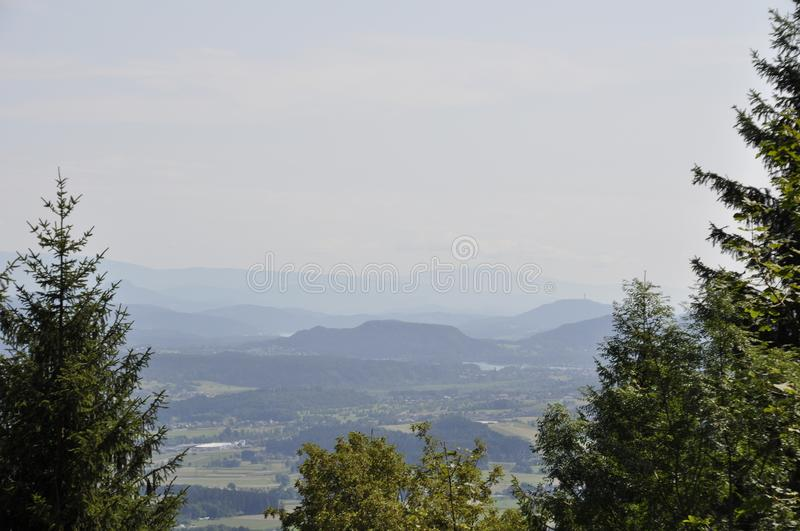 Countryside Landscape with Mountains on Background stock photography