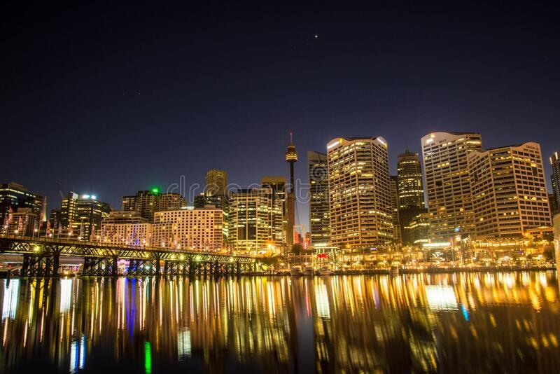 Photo of Lights from High Rise Buildings during Night Time royalty free stock image