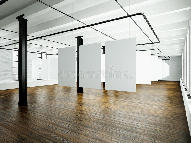 photo of loft interior in modern building open space studio empty white canvas hanging wood. Black Bedroom Furniture Sets. Home Design Ideas