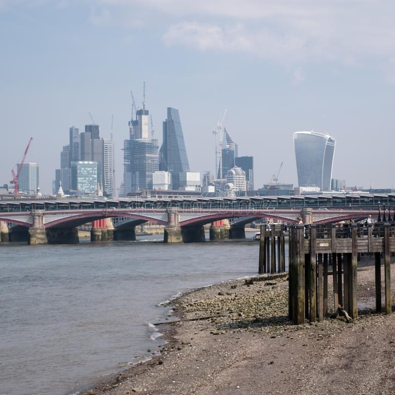 Photo of London skyline showing buildings at 20 Fenchurch Street `Walkie Talkie Building` and 122 Leadenhall Street. Photo of City of London skyline taken on a stock photo