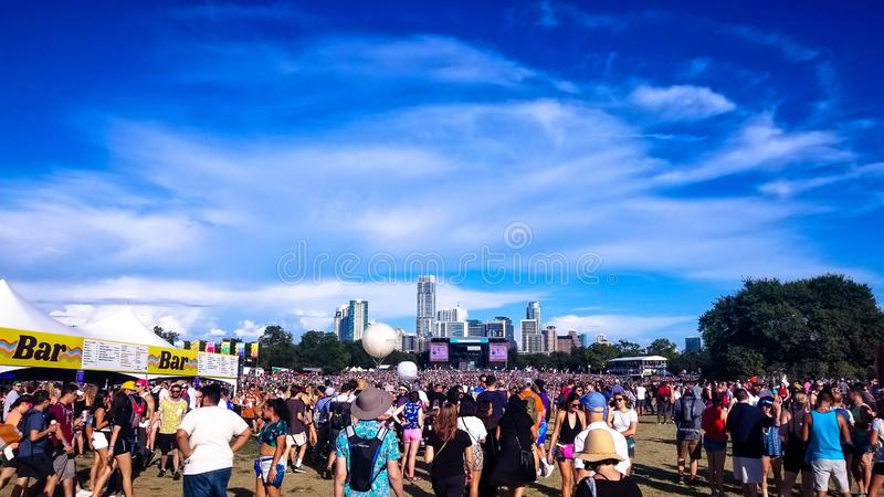 Wide Crowd Image at Austin City Limits Music Festival. Photo looking at the Austin Texas Skyline from ACL Fest 2018 stock photography