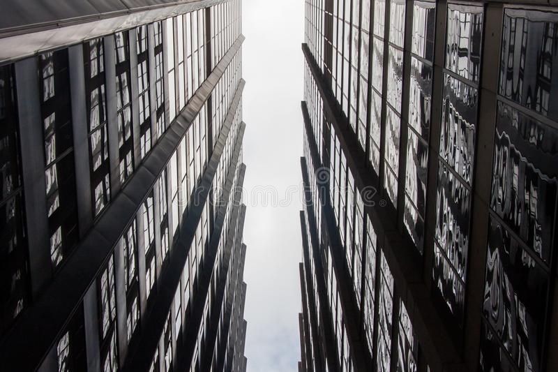 Sky view between two buildings royalty free stock photography