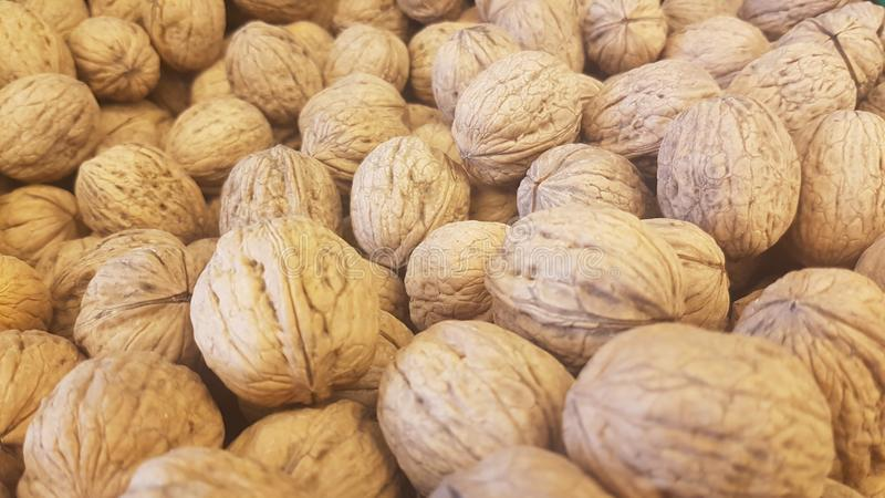 Lots of inshell walnuts texture. Photo about lots of brown inshell walnuts texture background in a market royalty free stock images