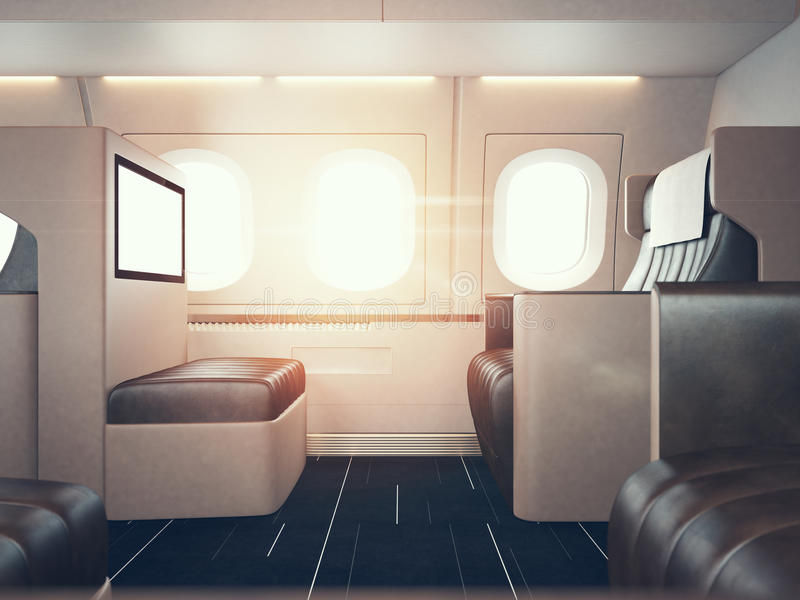 Photo of luxury airplane interior. Blank digital panel holding. Horizontal mockup. 3d render royalty free illustration
