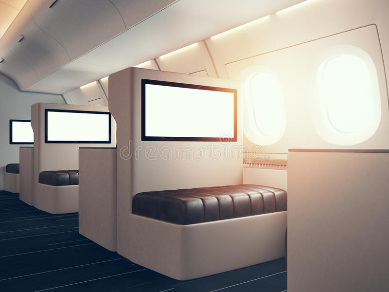 Photo of luxury airplane interior. Blank digital panels holding. Empty space. Horizontal mockup. 3d render stock illustration