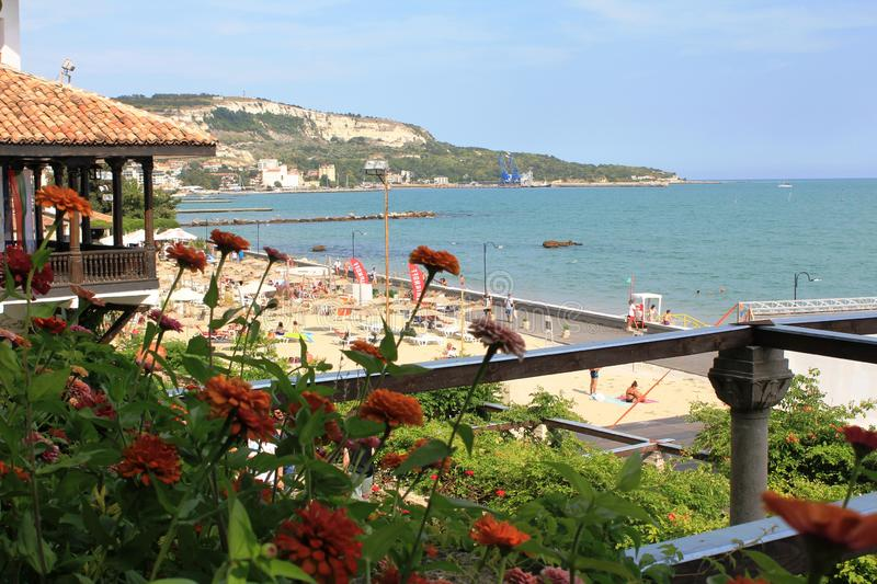 The coastline in Balchik, Bulgaria. Photo made in Balchik, Bulgaria at the Black Sea. Whire rocks, little port, many hotels and long pronenade royalty free stock images