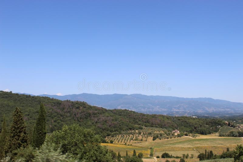 The beautiful view of the landscape. This photo is made in a field near Greve in Chianti, Tuscany, Italy royalty free stock photo