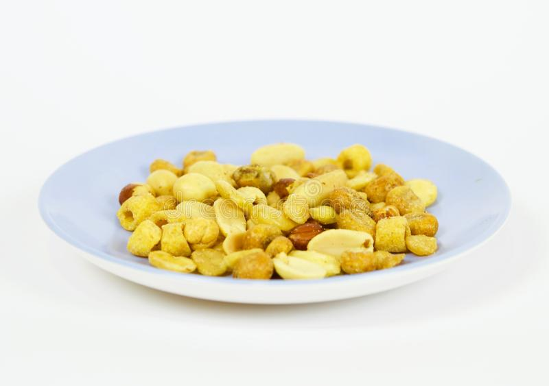 Roasted nuts ready to eat. Photo made with macro objective and in isolated background of nuts. Ideal photo to illustrate diets, healthy lifestyles, etc stock photos