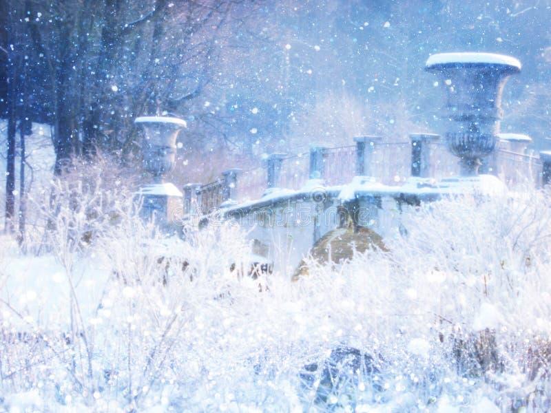 Photo magique trouble et abstraite de paysage d'hiver recouvrement de scintillement photos libres de droits