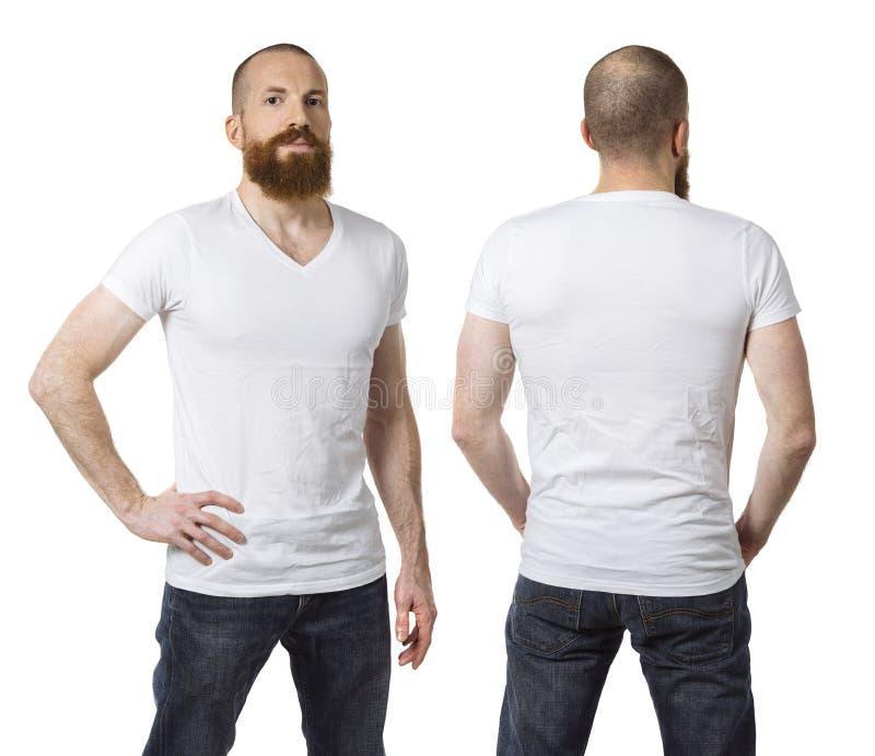 Download Man With Beard Wearing Blank White Shirt Stock Photo - Image of hair, white: 107306566