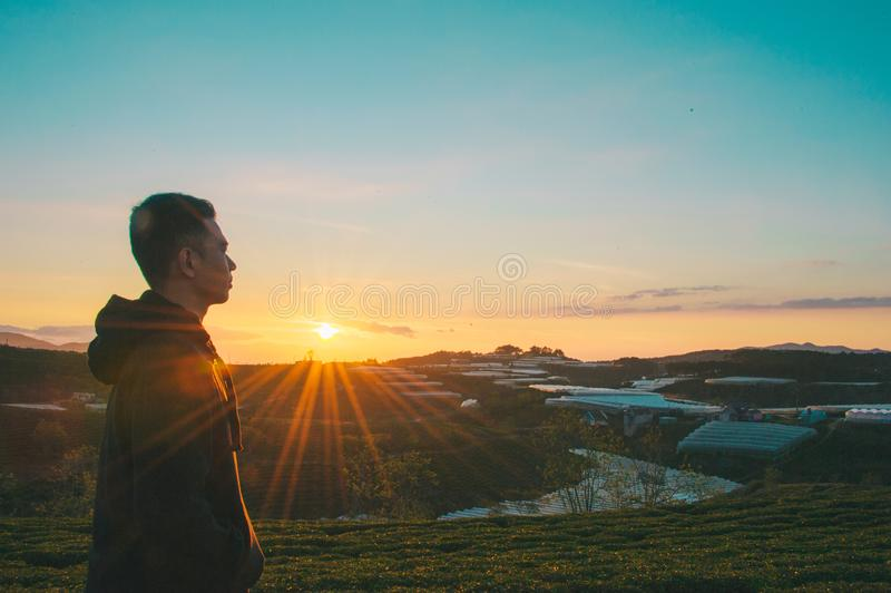Photo of Man During Sunrise stock photography