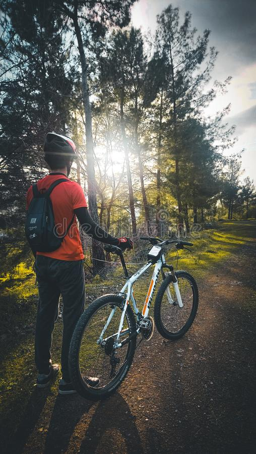 Photo of Man Wearing Red Shirt Holding White Mountain Bike royalty free stock photography