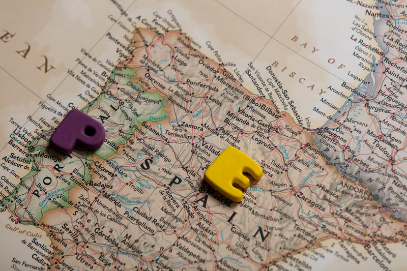 Photo of map of Spain and colorful letters on the wonderful back royalty free stock photo
