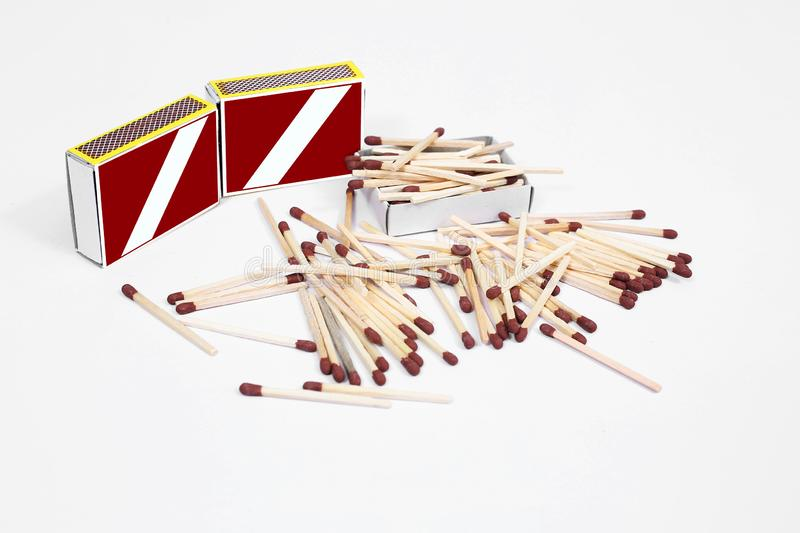 Photo of Matches with match box collection. Isolated on the white background stock images