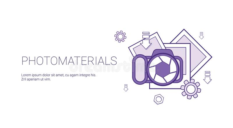 Photo Materials Media Data Concept Template Web Banner With Copy Space. Vector Illustration royalty free illustration