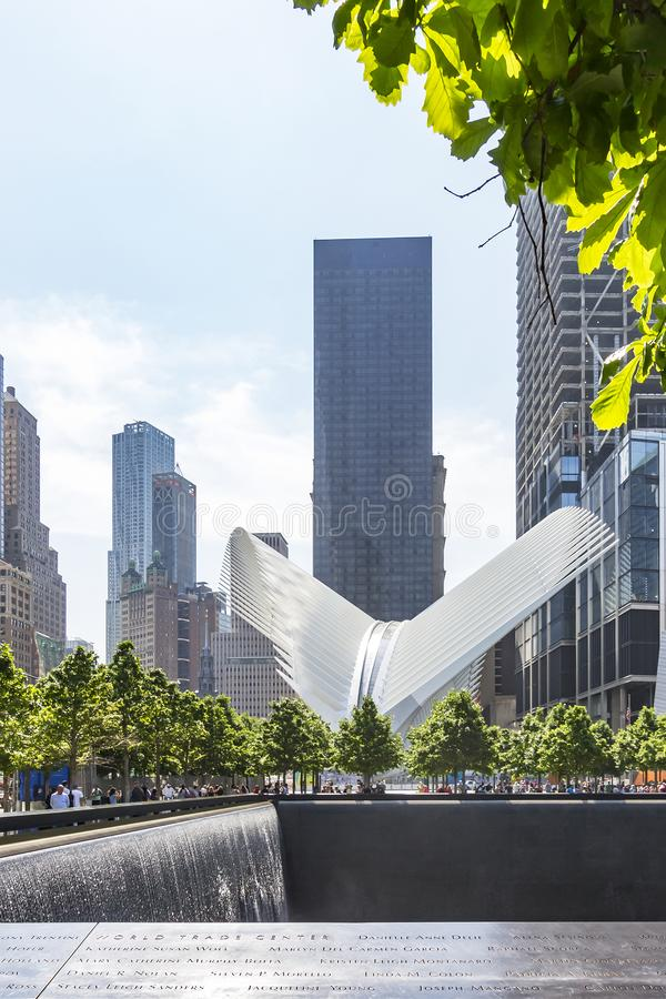 Photo of the 9-11 Memorial North Pool and Subway Station Phoenix in New York, United States. Photo of the 9-11 Memorial North Pool and Subway Station `Phoenix` stock photo