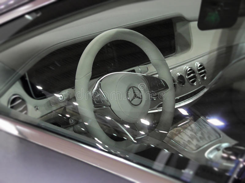 Photo of Mercedes-Benz S 350 d interior. Serbia; Belgrade; March 29, 2017; Mercedes-Benz S 350 d interior on the 53rd International Motor Show in Belgrade from stock photo