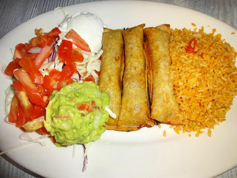 Beef Flautas Mexican Food for Dinner royalty free stock photo