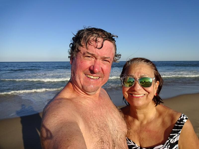 Happy Couple at the Beach in Ocean City Maryland stock photography