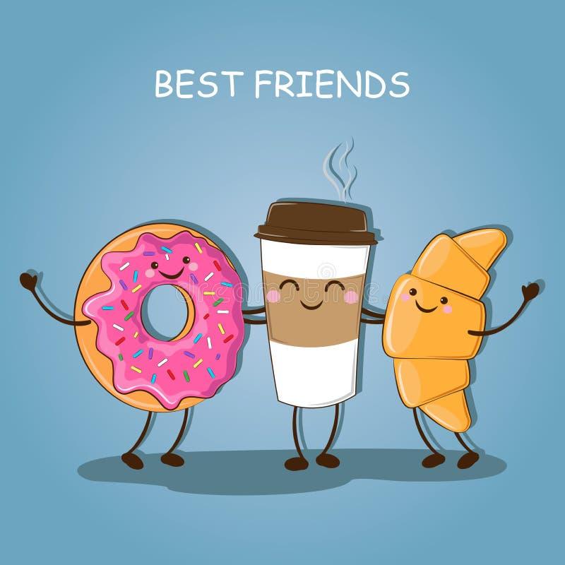 Photo mignonne de petit déjeuner de matin de petit déjeuner d'un café, d'un beignet et d'un croissant Illustration de vecteur illustration de vecteur