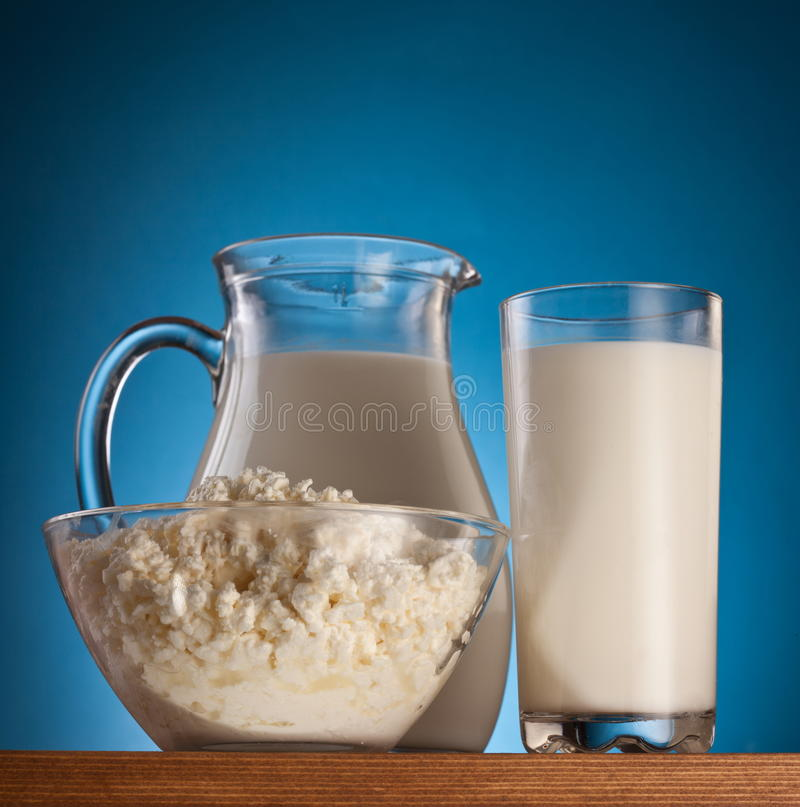 Photo of milk and cottage cheese. stock image
