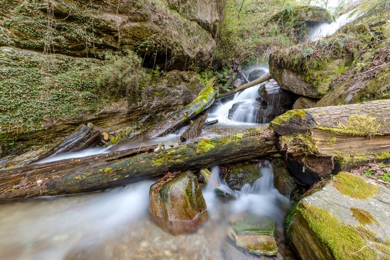 Photo of milky water stream in himalayas - waterfall. InIndia stock images