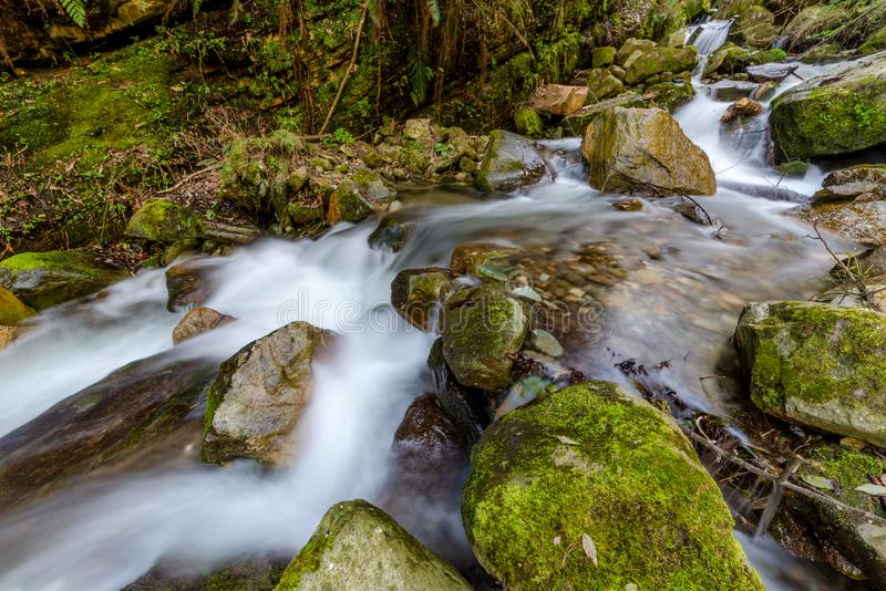 Photo of milky water stream in himalayas - waterfall. InIndia royalty free stock images