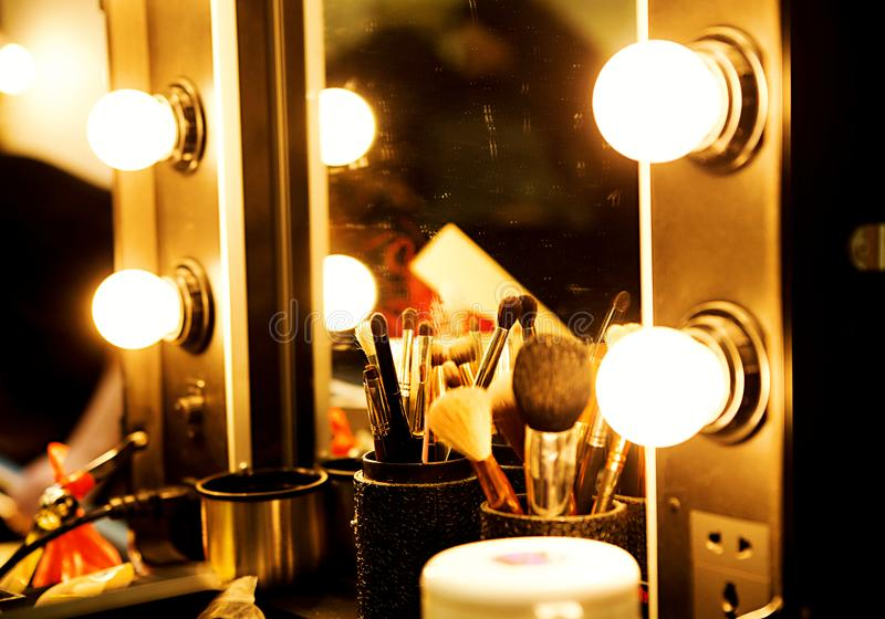 Mirror with light bulbs for make-up royalty free stock photography