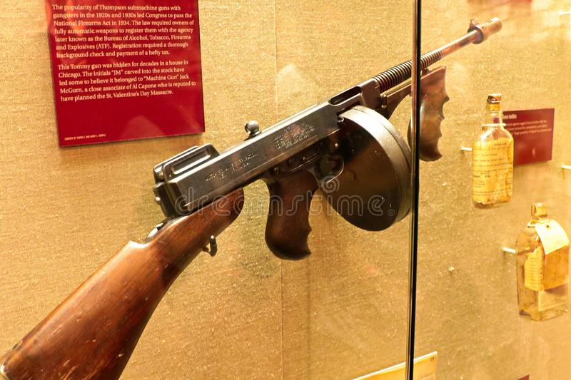 Display Thompson submachine gun. Photo of the The Mob Museum display Thompson submachine gun. Also used in mafia movies such as the movie `The Godfather stock images