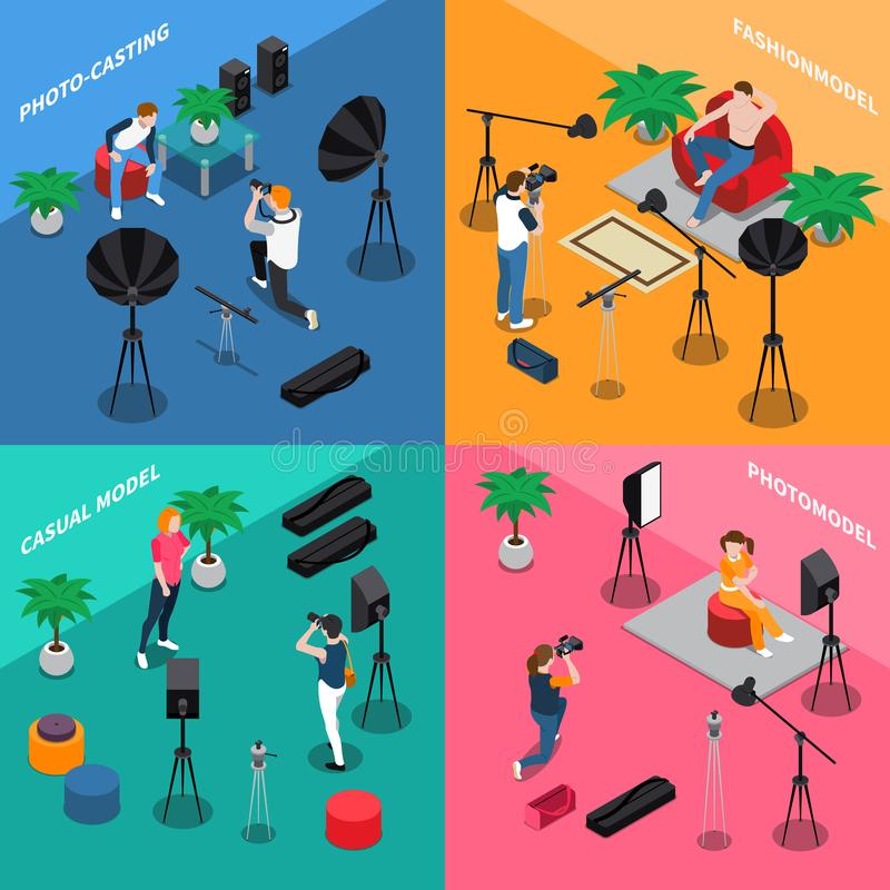 Photo Model Agency Isometric Concept vector illustration