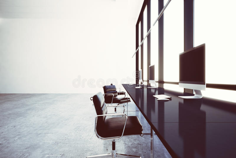 Photo modern coworking office in business center with panoramic windows. Generic design computers and generic white. Furniture contemporary working zone. Open royalty free stock photo