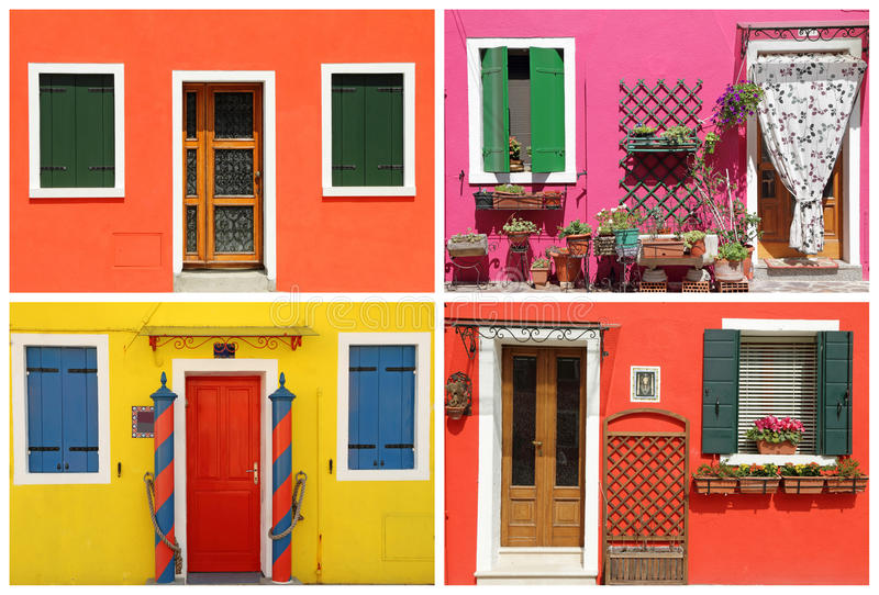 Photo- montage with multicolor vivid painted houses in Burano, royalty free stock photos