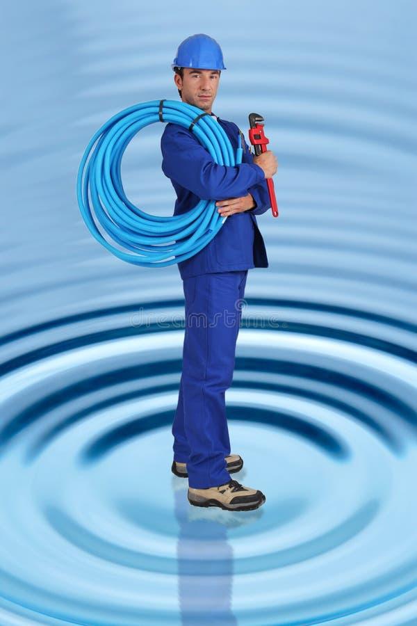 Photo-montage of plumber royalty free stock photos